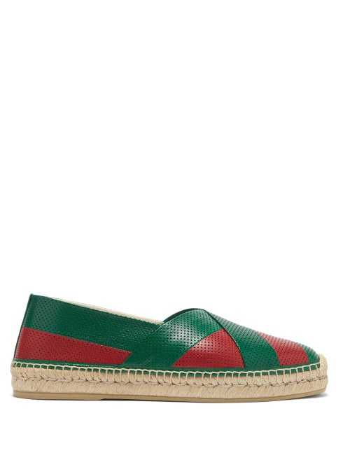 Gucci - Web-striped Perforated-leather Espadrilles - Mens - Green Multi