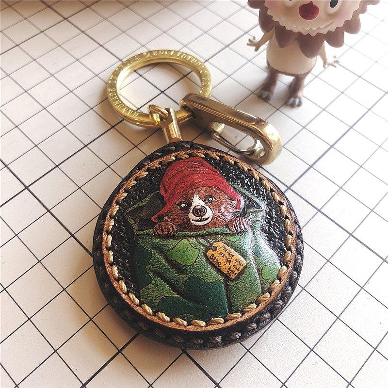 袋子裡的小熊手工汽車鑰匙扣掛件客制化刻字送男女朋友生日禮物