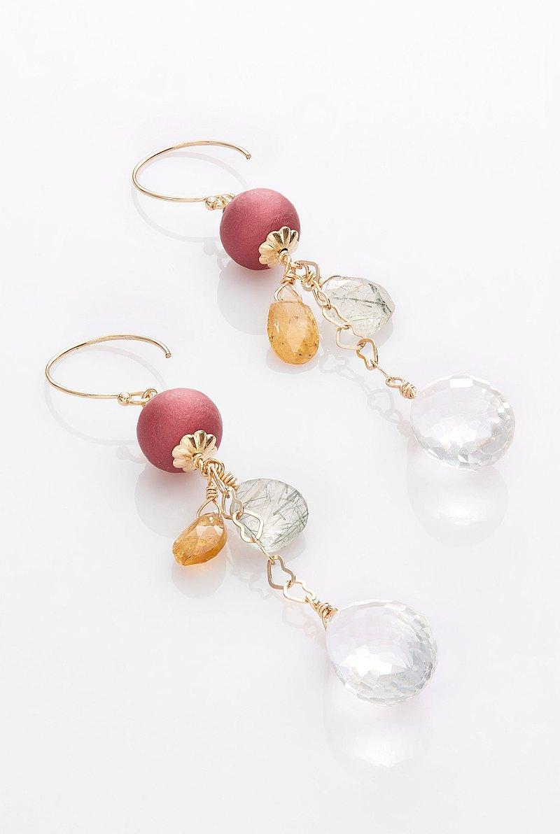 珍珠系列-多米爾娜-啞光珍珠 綠髮晶 褐碧璽 水晶石英 14K GF耳環