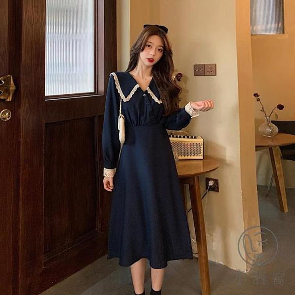 秋季法式復古連身裙女小個子顯瘦氣質長款長袖裙子【小酒窩服飾】