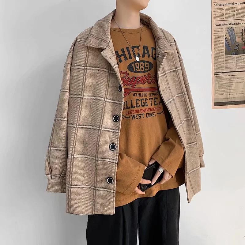工裝/外套 3色 日韓 毛呢大衣 BF風秋冬衣著 休閒風 格紋毛呢外套 加厚冬裝 防風工裝夾克 翻領 現貨