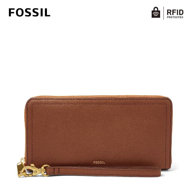 【FOSSIL】Logan 咖啡色多層真皮拉鍊長夾 SL7831200
