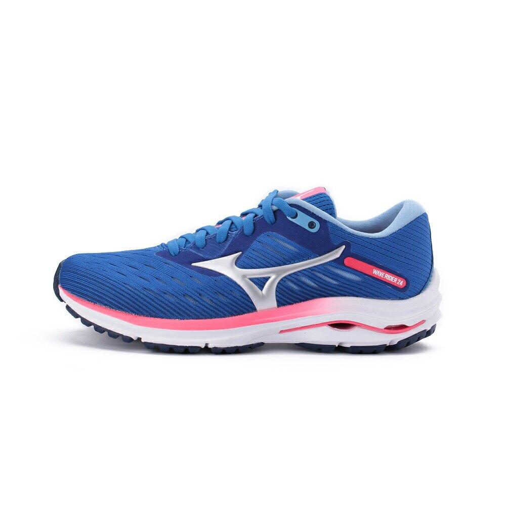 【滿額領券折$150 最高省$450】MIZUNO WAVE RIDER 24 慢跑鞋 藍粉 J1GD200320 女鞋