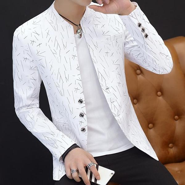 男士印花小西裝男韓版修身立領中山裝休閒西服薄外套青年帥氣褂子 有緣生活館