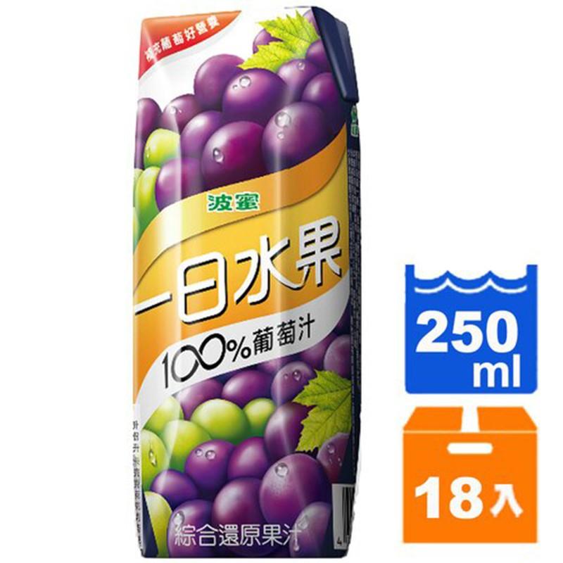 波蜜 一日水果100%葡萄汁 250ml(18入)/箱【康鄰超市】