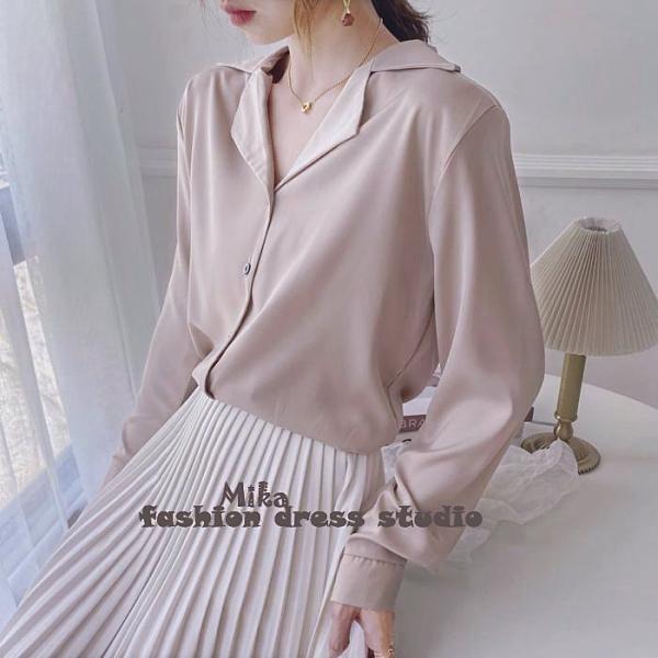 依二衣 襯衫 韓國chic寬鬆v西裝領時尚翻領長袖襯衫純色上衣