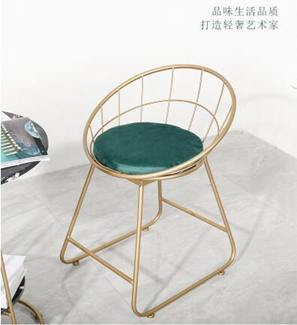 化妝椅 北歐ins鐵藝網紅椅簡約靠背化妝椅美甲椅簡約現代家用休閒椅