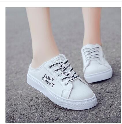 半拖鞋 半拖小白鞋夏季女新款百搭透氣韓版學生平底無跟懶人帆布鞋子 現貨快出 新年狂歡85折鉅惠