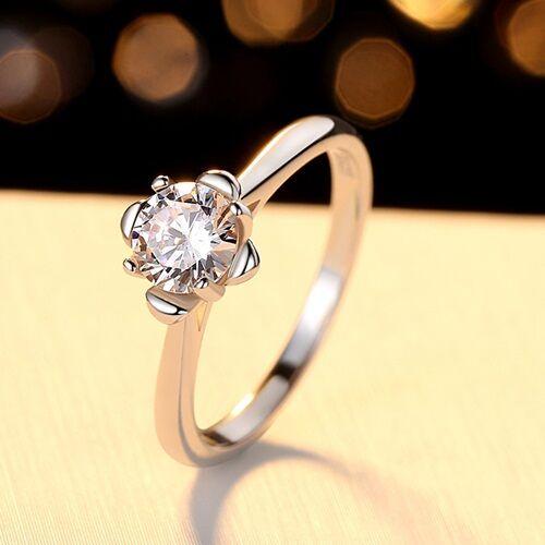 【米蘭精品】莫桑鑽戒指925純銀開口戒-0.5克拉花苞四爪鑲嵌女飾品73yk38【附GRA證書】