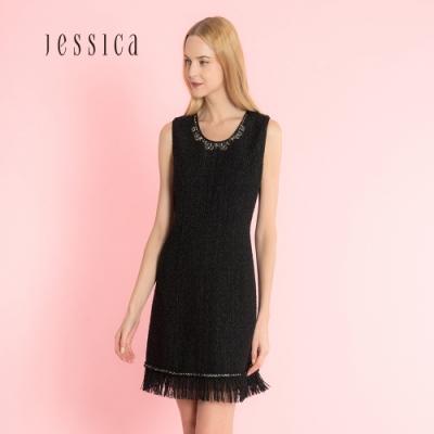 JESSICA- 黑色花呢流蘇邊優雅修身無袖洋裝