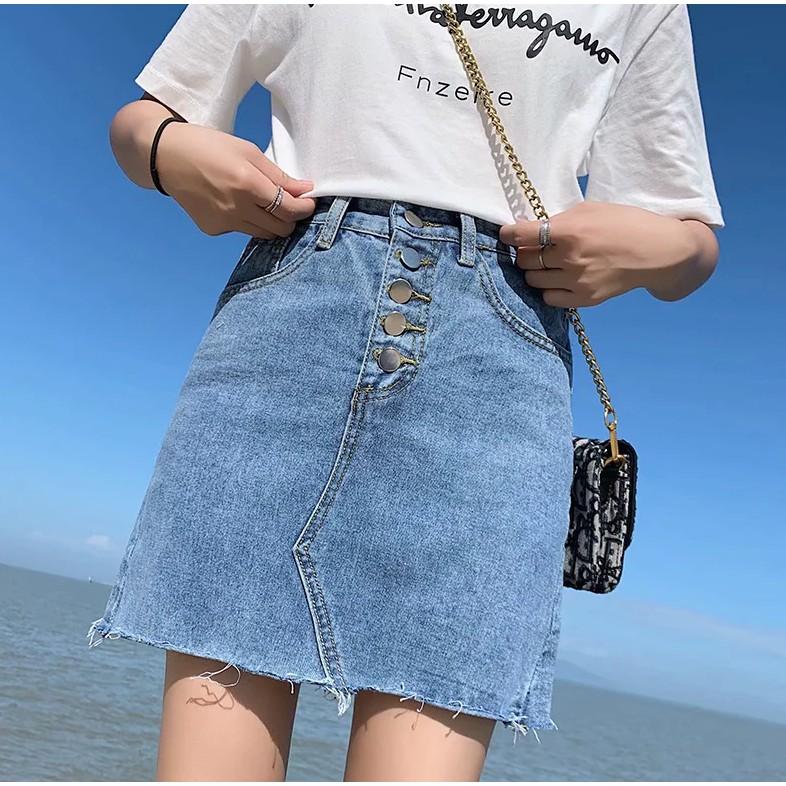 【M世代】大尺碼(S-5XL)牛仔短裙 韓版百搭高腰顯瘦半身裙 A字裙 包臀裙 短裙(M6026)