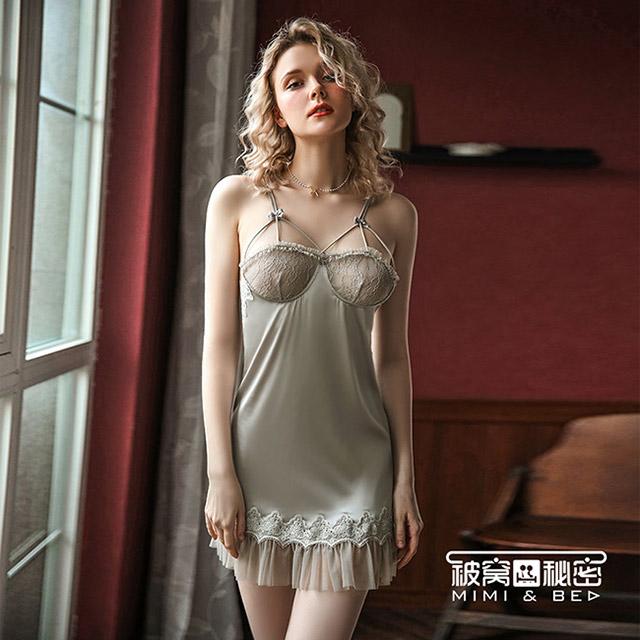 被窩的秘密 甜美蕾絲優雅公主絲滑吊帶裙。灰色