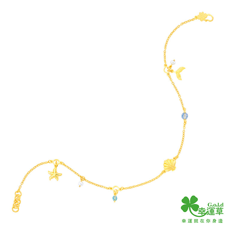 幸運草金飾 藍色傳說 黃金/水晶/淡水珍珠腳鍊