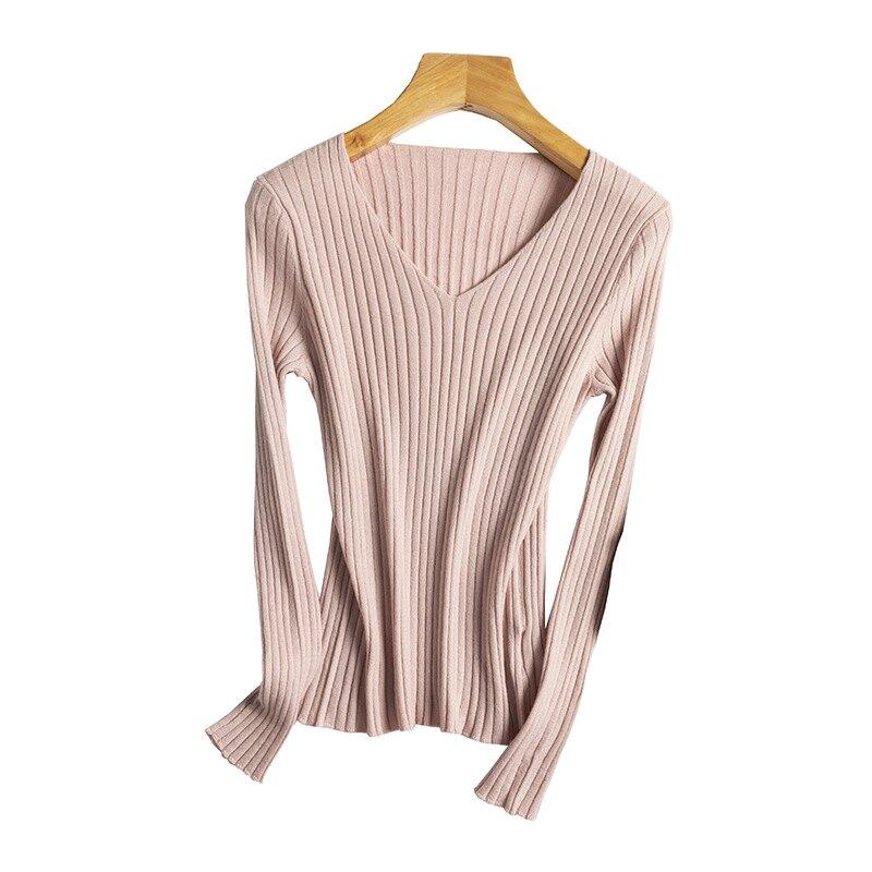 羊毛衫針織毛衣-V領修身坑條薄款女上衣7色73yv26【獨家進口】【米蘭精品】