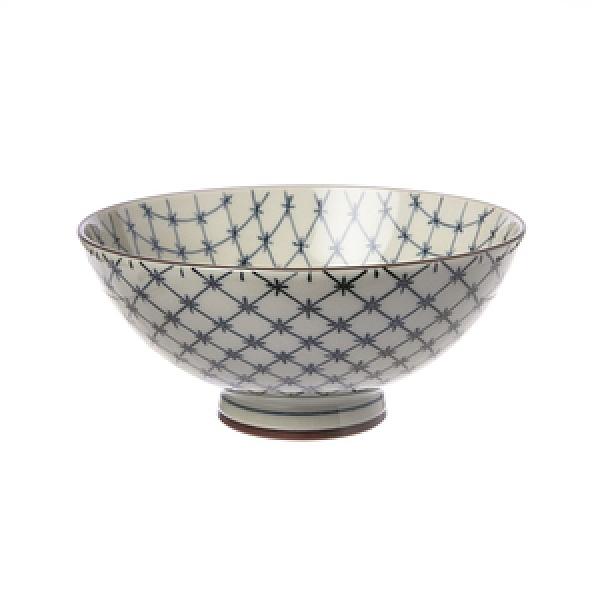 日本製陶瓷毛料飯碗14cm 十草格