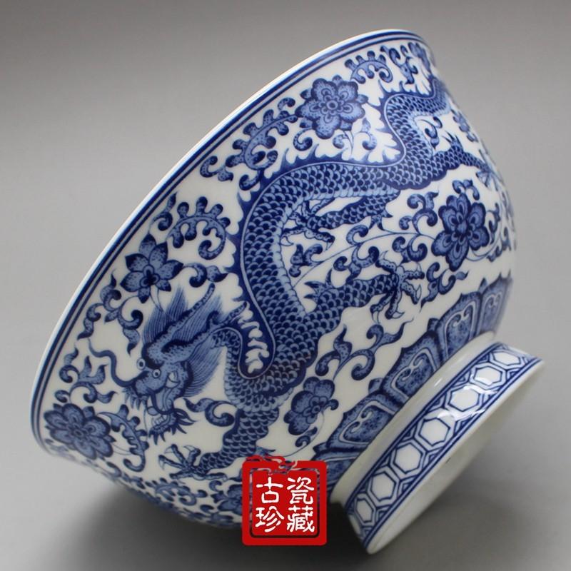 仿古陶瓷明清青花瓷雙龍碗 仿古中式家用碗米飯碗湯碗泡面碗粥碗 -
