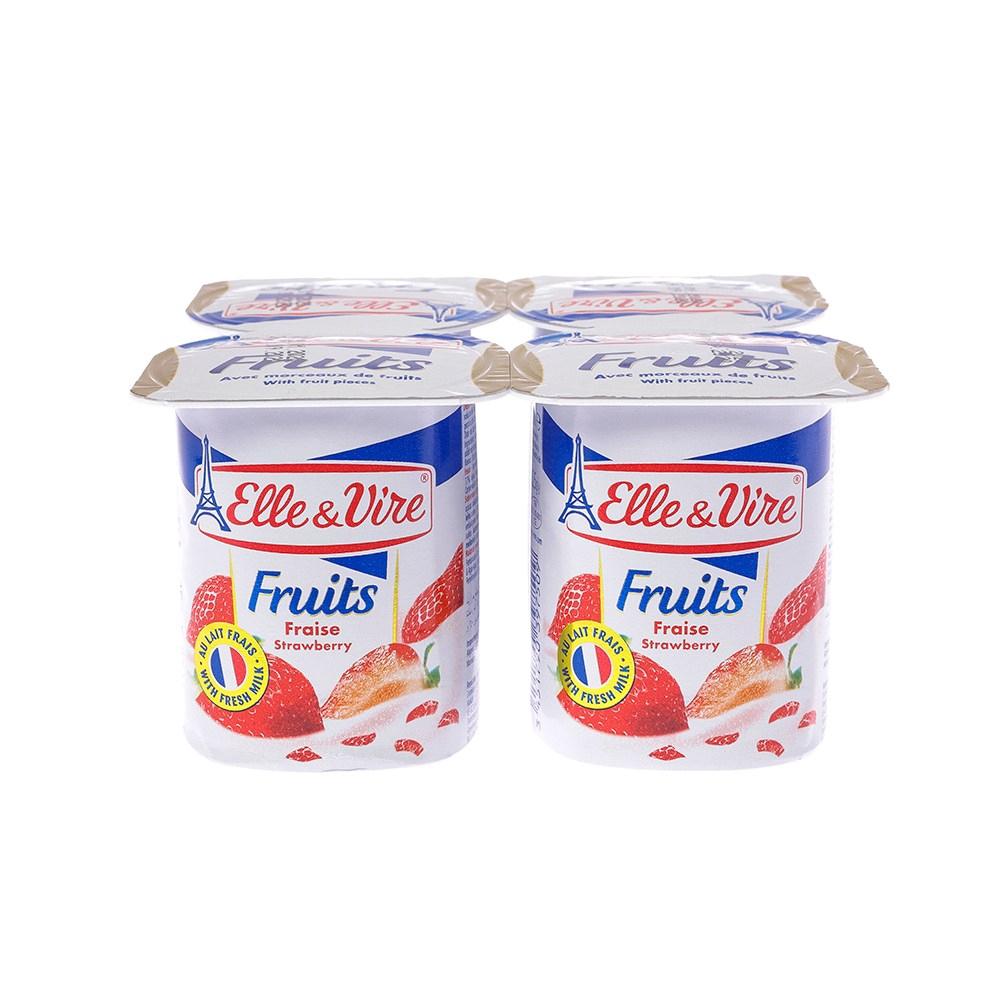 法國愛樂薇Elle & Vire 水果優格-草莓 125gX4入