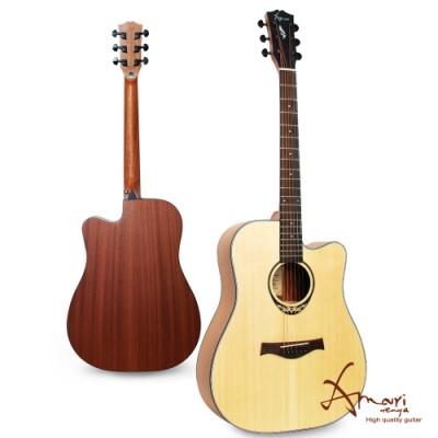 Amari 41吋 雲杉木面板 缺角民謠吉他-原木色(418C)贈超值配件組