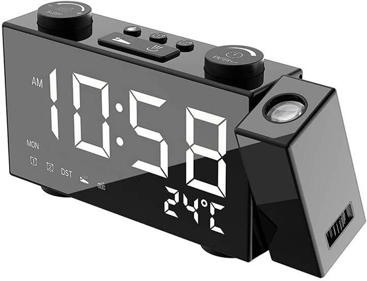 Irfora【日本代購】LCD數字 投影鬧鐘 多功能鬧鐘 USB輸出端口