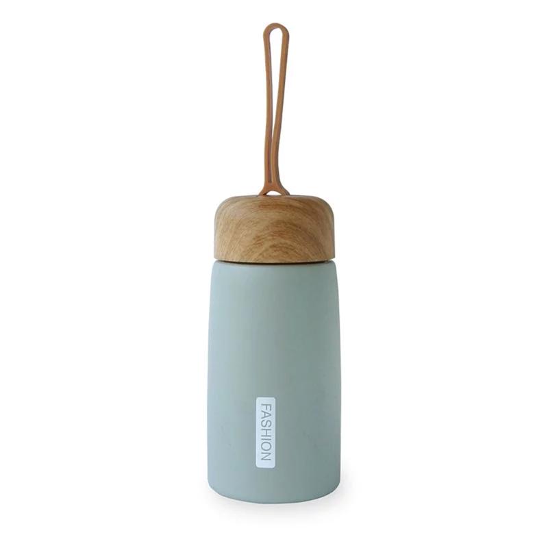 [Caldo]木紋蓋不鏽鋼保溫瓶(附提把)260ml-灰綠