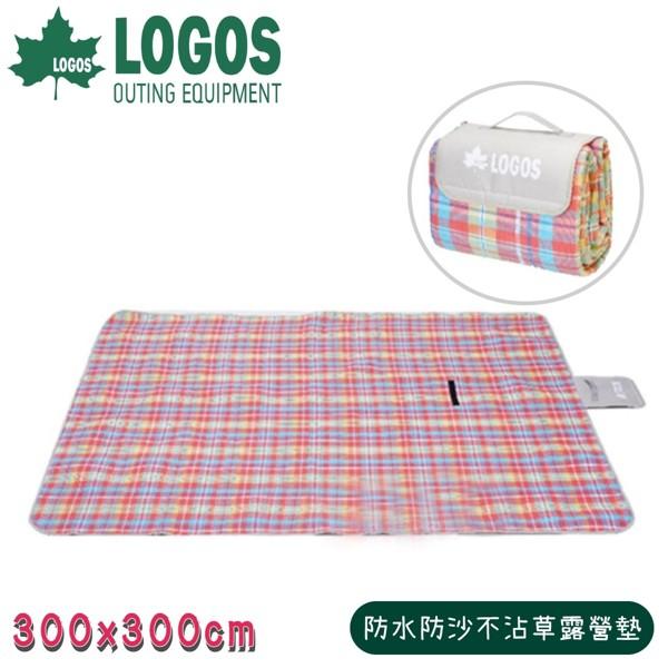 【LOGOS 日本 防水防沙不沾草露營墊 《繽紛格紋》 】7383329/露營睡墊/野餐墊/防潮墊/地墊/地布