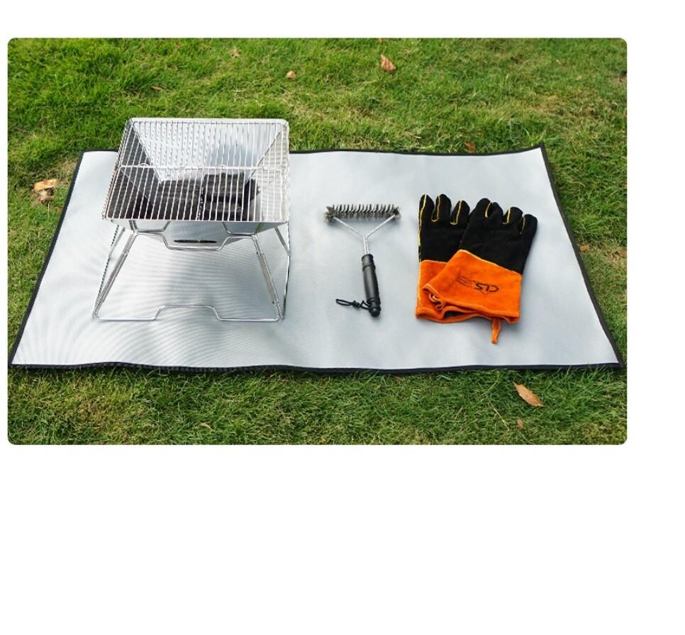 露營 烤肉 防火雙面防火布 野炊燒烤隔熱墊 耐熱耐高溫 送收納袋 小號