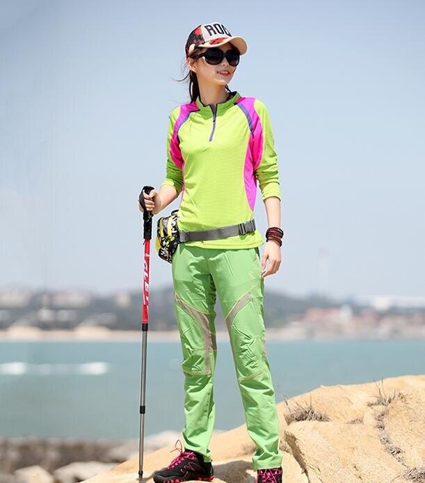 戶外速幹衣女長袖T恤修身吸汗透氣寬鬆登山徒步運動彈力快幹衣春