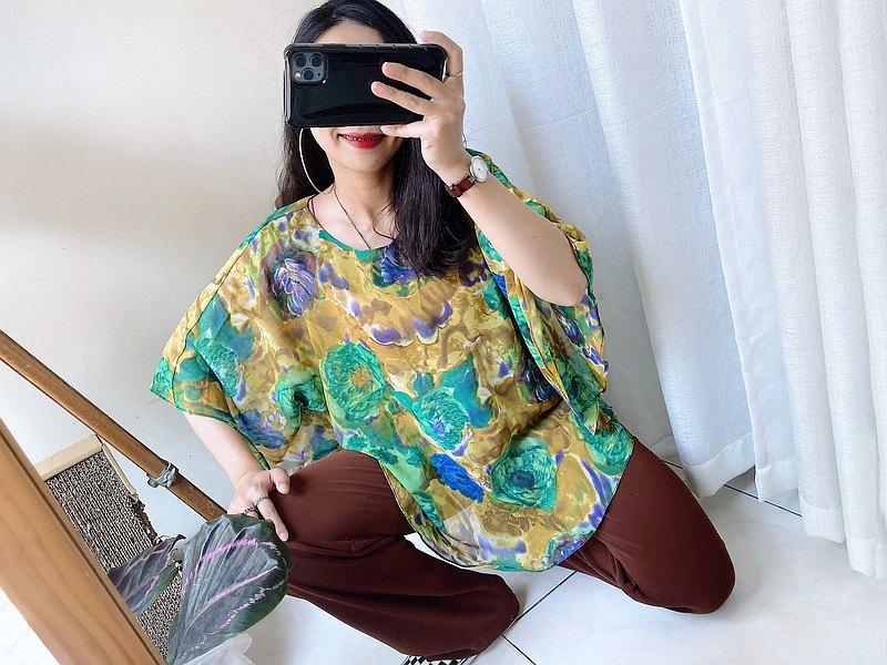 檸檬黃x迷幻綠渲染透膚青澀少女 古董古著飛鼠袖紡紗上衣 vintage