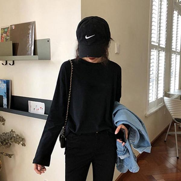 促銷大尺碼服裝 長袖t恤女黑色打底衫秋季韓版洋氣百搭寬松mschf純色網紅上衣潮