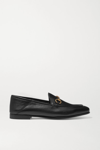 Gucci - Brixton 马衔扣细节折叠式后跟皮革乐福鞋 - 黑色 - IT40