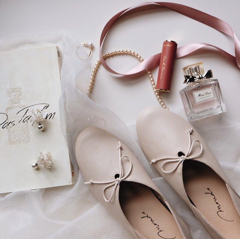棉白。頂級義大利小羊皮法式娃娃鞋 真皮女鞋 平底休閒鞋 MIT