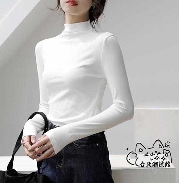 大尺碼T恤 半高領打底衫女春秋冬長袖T恤洋氣修身黑色內搭薄款中領上衣百搭 VK3644