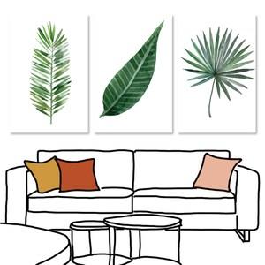 【24mama 掛畫】三聯式油畫布無框畫_40x60cm_熱帶植物08