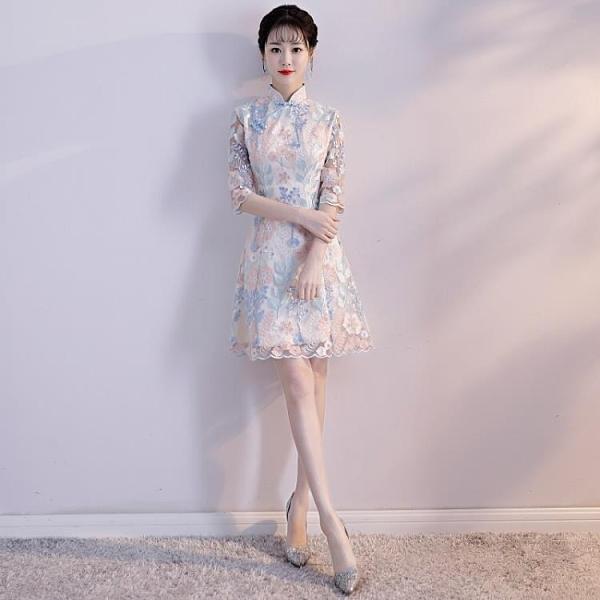旗袍 旗袍夏季新款女中國風端莊時尚少女短款中長款大氣蕾絲連身裙 交換禮物