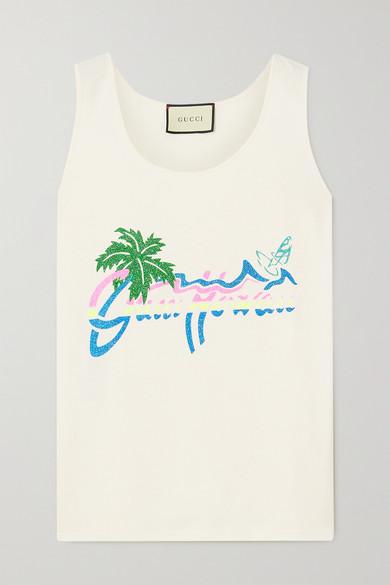 Gucci - 【net Sustain】亮片金葱印花有机纯棉平纹布坦克背心 - 白色 - medium