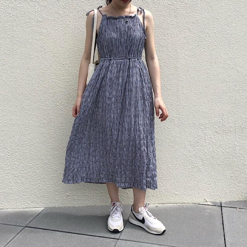 正韓 【現貨*1】格紋-仙女的細肩綁帶長洋裝