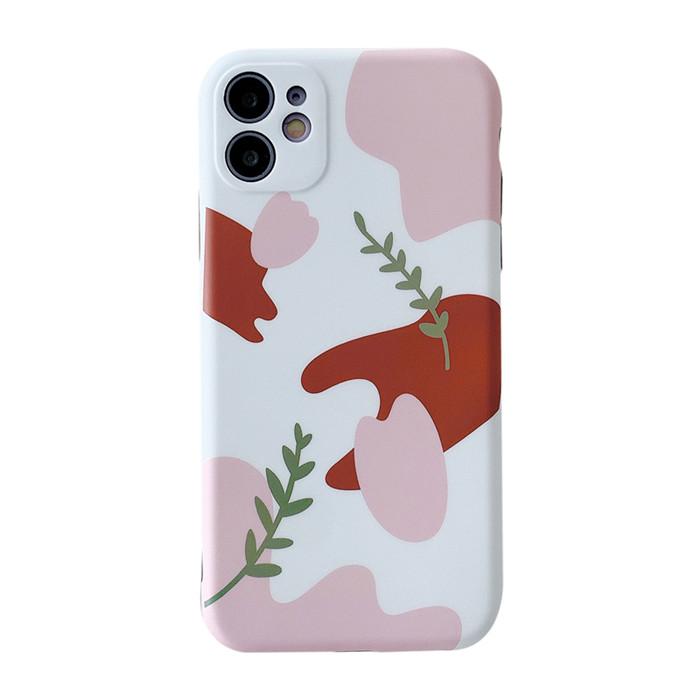 保護殼 iphone 8 7 8p iX XS XR XSMax 11 11Pro Promax白粉色底小綠葉防摔手機殼