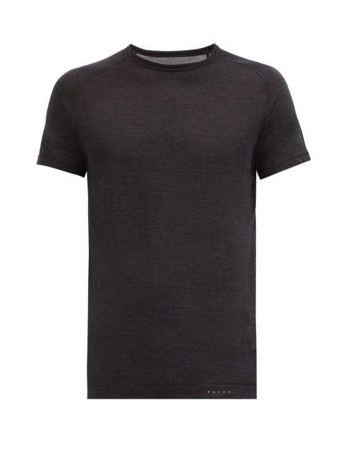 Falke Ess - Raglan Sleeve Wool-blend Jersey T-shirt - Mens - Dark Grey