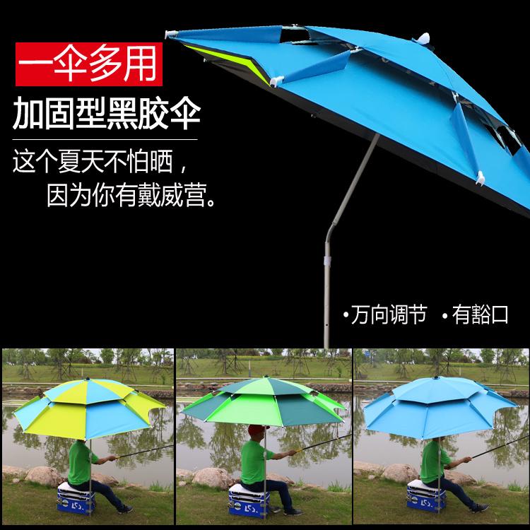 戶外遮陽傘 雨傘2米萬向防雨防曬戶外釣垂大釣傘黑膠遮陽加固釣魚傘 OB6131【99購物節】