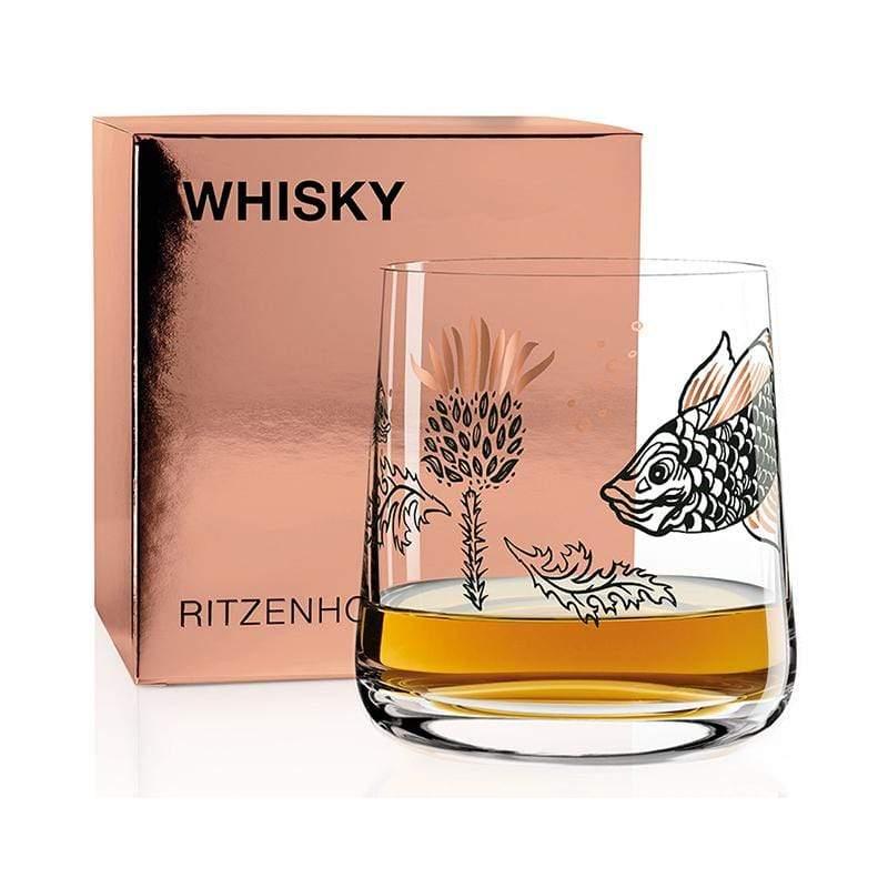 威士忌酒杯 - 蘇格蘭薊與魚