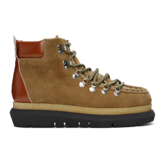 Sacai 棕色绒面革踝靴