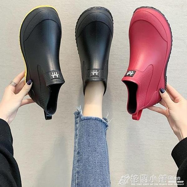 雨鞋 日系時尚款外穿雨鞋女短筒加絨保暖雨靴買菜廚房防滑水鞋洗車鞋-完美