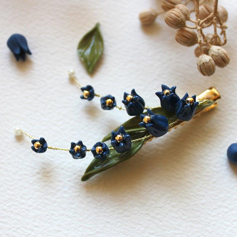 【鈴蘭】髮夾 黏土 植物 花卉髮夾 藍色單隻