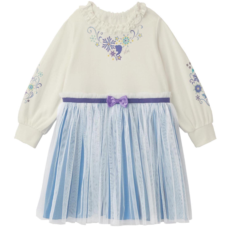 日本千趣會 - 迪士尼公主紗裙襬長袖洋裝-艾莎-白藍