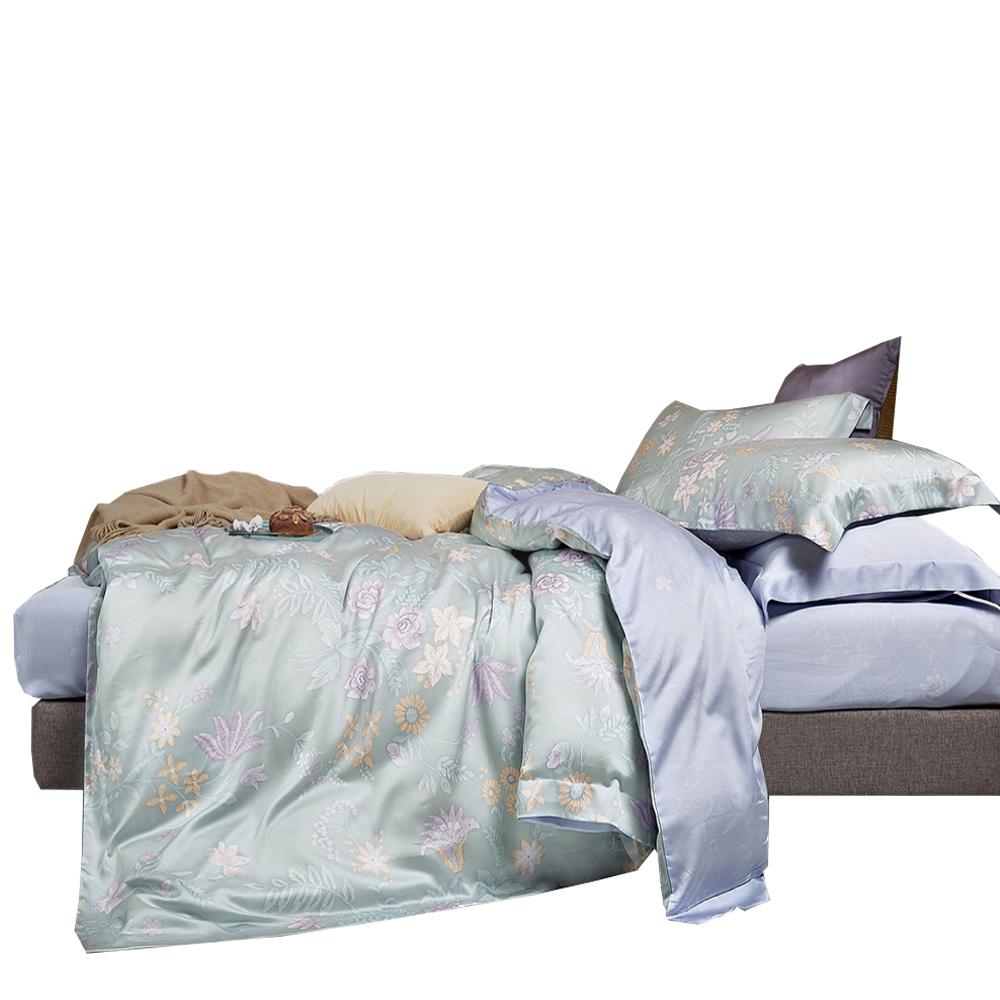 【FITNESS】100%純天絲頂級60S雙人四件式兩用被床包組-蔓然
