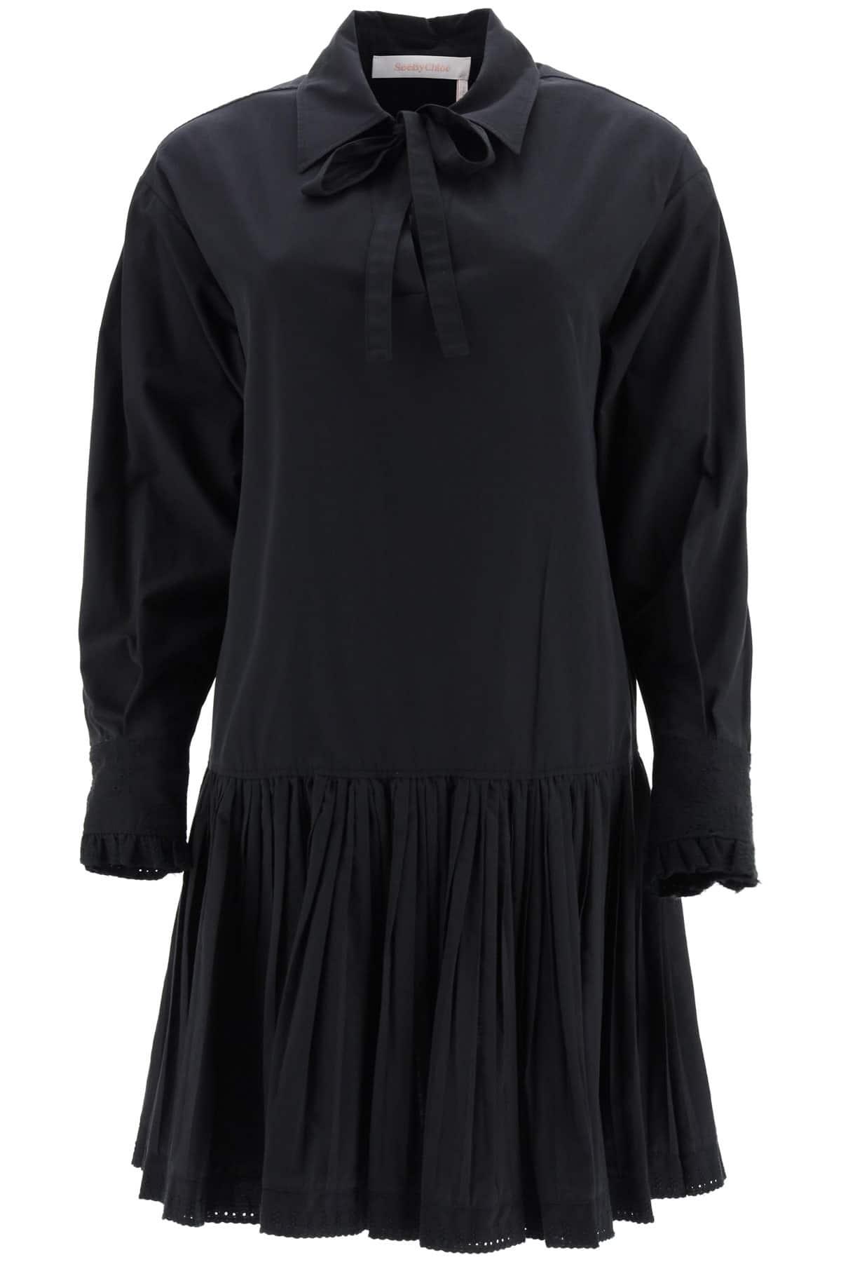 SEE BY CHLOE COTTON MINI DRESS 36 Black Cotton