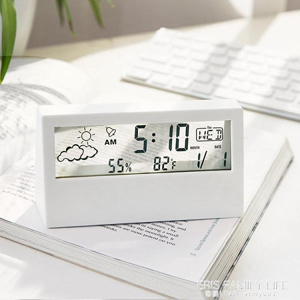 日式簡約現代多功能電子時鐘學生數字桌面用臥室靜音透明小型鬧鐘 艾瑞斯