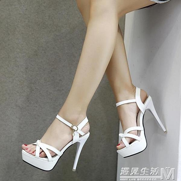 夏季新品12cm超高跟性感交叉綁帶鏤空露趾涼鞋女防水台細跟女鞋子