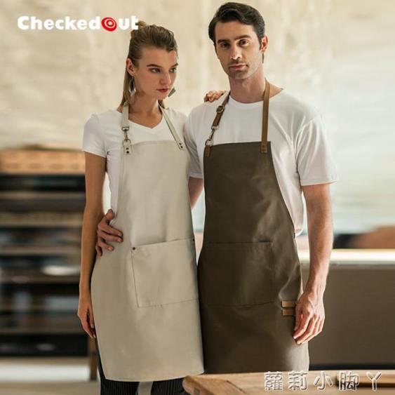 掛脖圍裙韓版時尚咖啡奶茶店圍裙男女畫畫可調節帆布圍裙定制logo