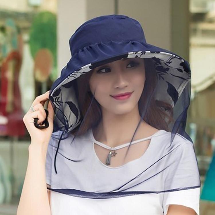 防蚊帽防曬帽子女戶外旅游防蚊面紗罩遮臉防柳絮大沿防紫外線太陽遮陽帽 雲朵走走